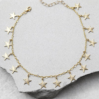 Frasier Sterling A Star is Born Gold Star Choker Necklace