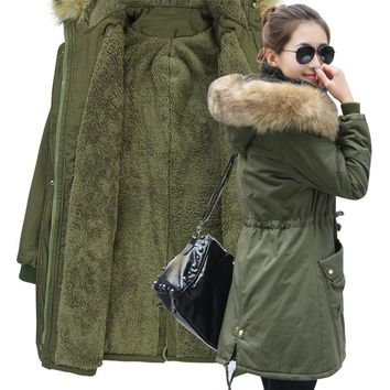 M+4XL winter fashion Women's clothing wadded jacket high quality plus cashmere Keep warm Military plus thick cotton hooded coat