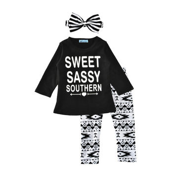 2017 New Toddler Girl Clothing Set Brand Letter T-shirt+Geometry Pants+Stripe Headband 3pcs Spring Boy Girl Toddler Set For Kids