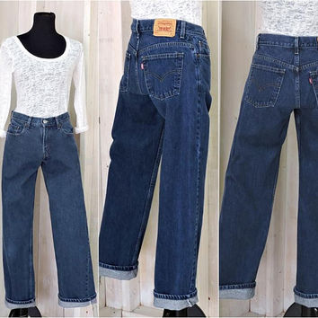 Vintage Levis 577 jeans / 28 X 31 size 5 / 6 / loose fit / dark wash / straight leg / 90s mid rise