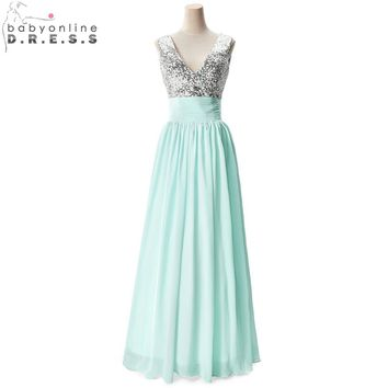Cheap Price Under $40 V Neck Champagne Black Burgundy Silver Sequined Mint Green Bridesmaid Dresses Wedding Party Prom Dresses