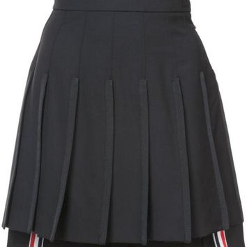 DCCKIN3 Thom Browne Dropped Back Mini Pleated Skirt With Grosgrain Tipping In Black Extra Fine Merino Kid Mohair