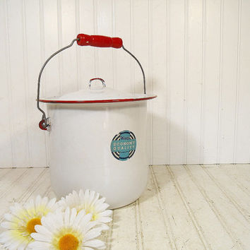 Antique Red on White Enamelware Slop Pail with Matching Lid & Wooden Handle - Vintage Porcelain Enameled Steel Bucket with Original Label
