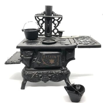 Crescent Miniature Cast Iron Toy Stove, Vintage Salesman Sample Wood Burning Stove