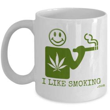 I Like Smoking dotcom Coffee Mug - Green (Front Only)