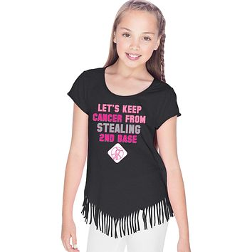 Girls Breast Cancer T-shirt Second Base Fringe Tee