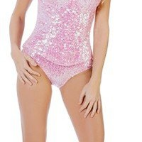 Starline T1024 Pink Sequin Playboy Party Bunny Corset Deluxe Sexy Fantasy Adult Costume Wholesale Supplier FREE SHIPPING