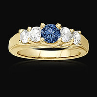 1.01 carat blue diamonds Five Stone ring yellow gold ring new
