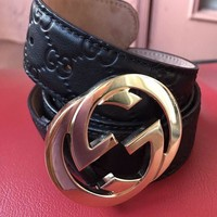 PEAP GUCCI GUCCISSIMA BLACK BELT SIZE 90/36 FREE SHIPPING!! Auth 100%