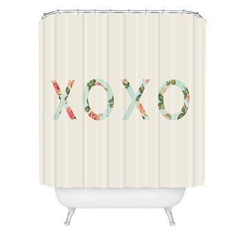 Allyson Johnson Floral XOXO Shower Curtain