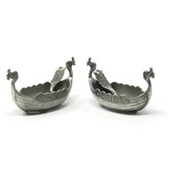TWO Pewter Viking Boat Open Salt Cellars with Matching Spoons - Vintage Norge Viking Ship Boat - Open Salt Cellar with Spoon TPB TINN Pewter