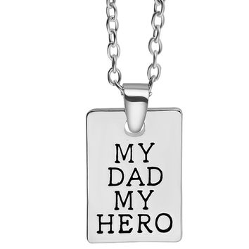 """My Dad My Hero"" Hand Stamped Charm Necklace"