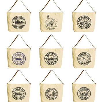 Cities in America Beige Print Canvas Tote Bag with Leather Strap WAS_29