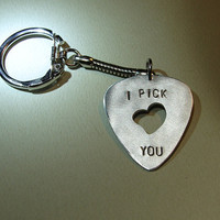 Guitar Pick Key Chain I Pick You with Heart Cut Out by NiciLaskin