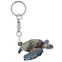 Sea Turtle Mirrored Acrylic Keychain