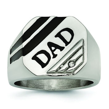Stainless Steel Polished Black Enameled CZ Signet Dad Ring