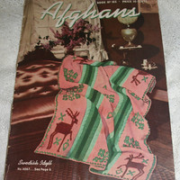 40s Crochet Afghan Pattern Booklet  40s Knitting Adorable Afghan Patterns Deer Afghan Plaid Afghans Red Heart Book No 165 from 1941