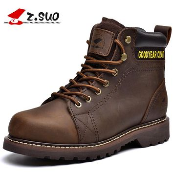 Winter Men's Boots. Leather Mens Working Boots, High-quality Handmade Tooling Retro Fashion Casual Boots Man Botas Hombre