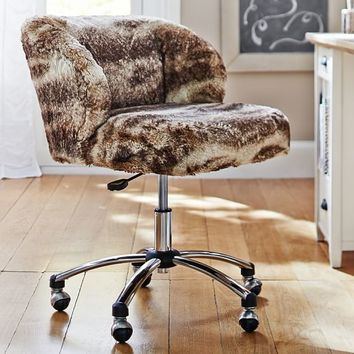 Caramel Ombre Faux-Fur Wingback Chair