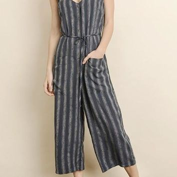 Gemma Stripe Cropped Jumpsuit in Dark Navy