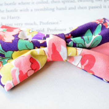 Purple Bow, Floral Bow, Floral Print, Pink Hair Accessories, Party Favors, Birthday Gift, Little Girl Hair Clips