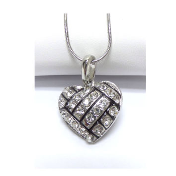 Crystal Accented Puffy Heart Volleyball Pendant Necklace