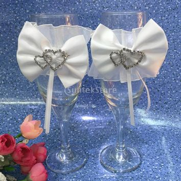 Wedding Bride Groom Wine Glass Covers - Champagne Cup Cover Decoration 2 pcs White