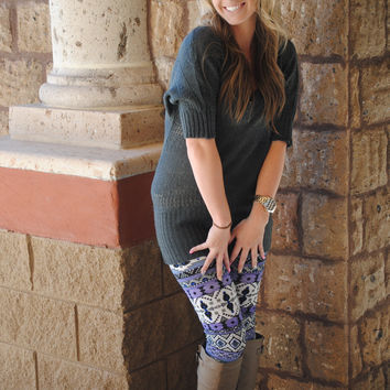 AZTEC MAUVE LINES LEGGINGS - ONE