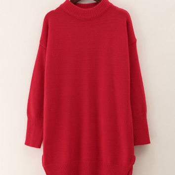 Red Long Sleeves Slit Long Sweater