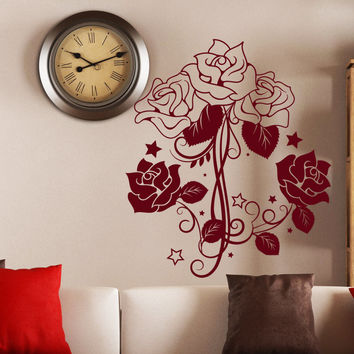 Wall Decal Flower Roses Design Decals for Florists Living Room Bedroom Bathroom Vinyl Stickers Home Decor Art Murals 3