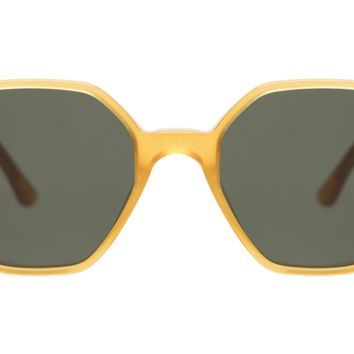 Illesteva Brera 48mm Honey Gold Sunglasses / Olive Lenses