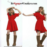 80s Vintage red short romper jumper Joule energy shoulder pads sweetheart bright