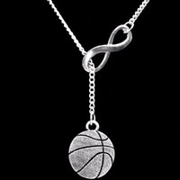 Basketball Sports Mom Gift Infinity Lariat Necklace