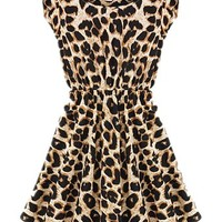 Ninimour- Womens Slim Crew Neck Leopard Short Sleeve High Waist Dress