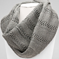 Knitted Infinity Gray Winter Scarf