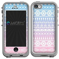 Blue Pink Ombre Tribal Skin Decal for iPhone 5C Lifeproof Case Design (Case not included)