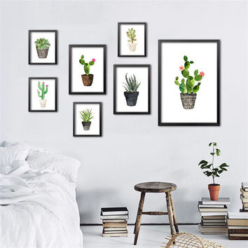 Nordic Watercolor succulent Green plant Canvas Art Print Poster, Cactus set Wall Paintings Modern Home Decor No Frame DP0091