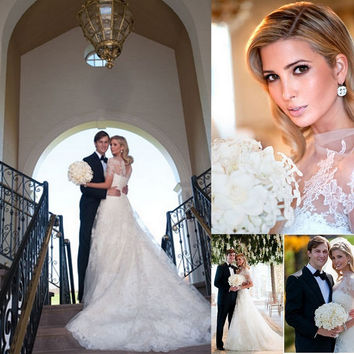 Ivanka Trump Elegant Lace Wedding Dresses with Sheer High Neck Big A-Line Short Sleeves court Train Bridal Gowns