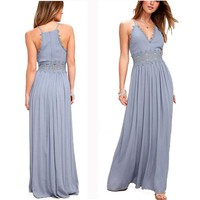 Sexy Pure Color V Neck Straps Lace Hollow-out Women's Prom Dress