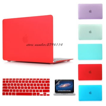 Notebook sleeve Matte Case New Air 11 Air 13 Pro 13 Pro 15'' New Retina 12 13 15 for macbook Keyboard Cover+Screen Protector