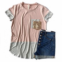 Pink and Stripe Double Pocket Top