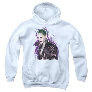 ac spbest Suicide Squad - Joker Stare Youth Pull Over Hoodie