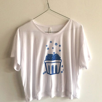 Blueberry Screen Printed T Shirt, Fruit Print, Crop Top, Boxy Tee