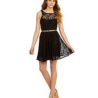 Takara Belted Illusion Lace Dress | Dillards.com