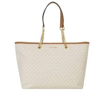 PEAPON MICHAEL Michael Kors Signature Jet Set Travel Medium Multifunction Tote