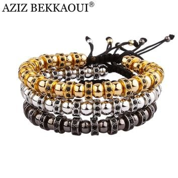 2017 Anil Arjandas Hematite Stone Beads Bracelet With Crystal Bracelets For Women Black Gold Color Men Bracelet Cool Jewelry