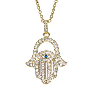 "Sterling Silver Pendant Necklace with CZ Crystal Hamsa Hand Evil Eye Charm, 925 Silver, Adjustable Chain Length 16"" - 18"", with Jewelry Box"
