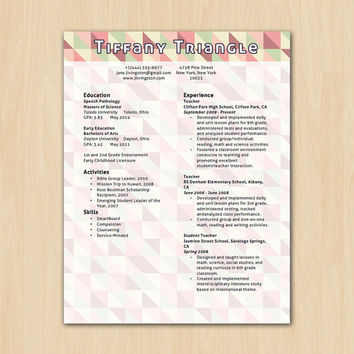 Triangle Delight Resume Template - Modern Resume Template - Instant Download - Microsoft Word DocX and Doc Format