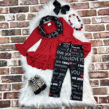 RTS Red I Love You Scarf Set D97