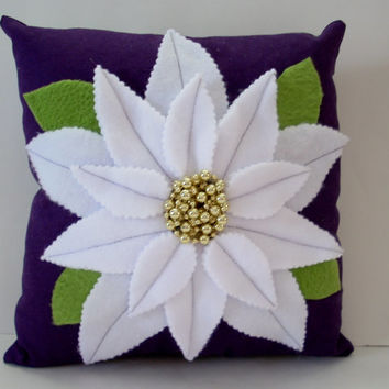 White poinsettia on a regal purple flower pillow, holiday decor pillow, Christmas pillow, gold beaded poinsettia,